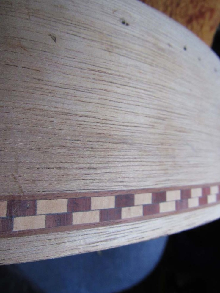 Sanded drum rim showing the inlay work
