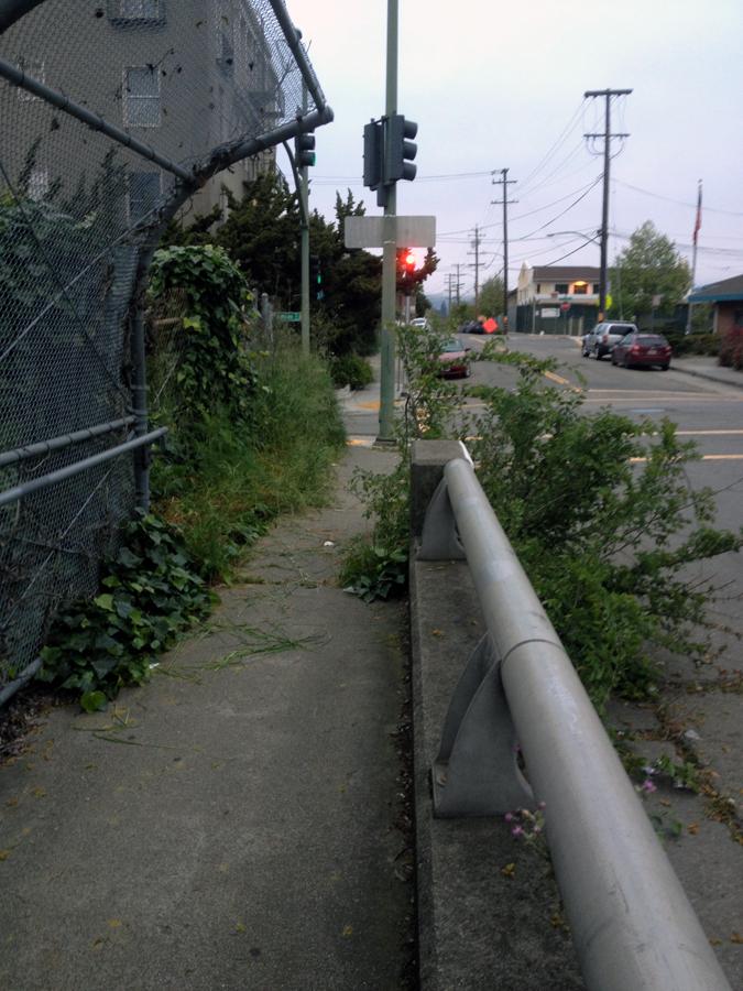 The sidewalk that runs over Hwy. 580