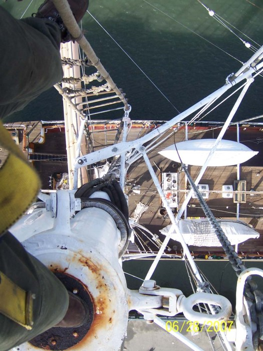 Looking down on the deck of a tall ship from high in the rigging